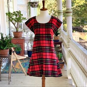 Vintage Handmade Plaid Flannel Mini Shift Dress